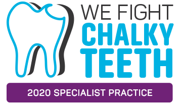 We Fight Chalky Teeth Specialist Practice Logo - Copyright D3G 2020